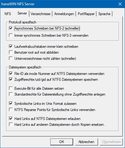 haneWIN NFS Server Dokumentation